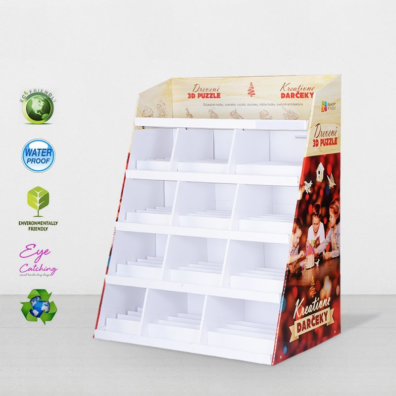 Color Cardboard Stand With Stainless Tube For Retail Products