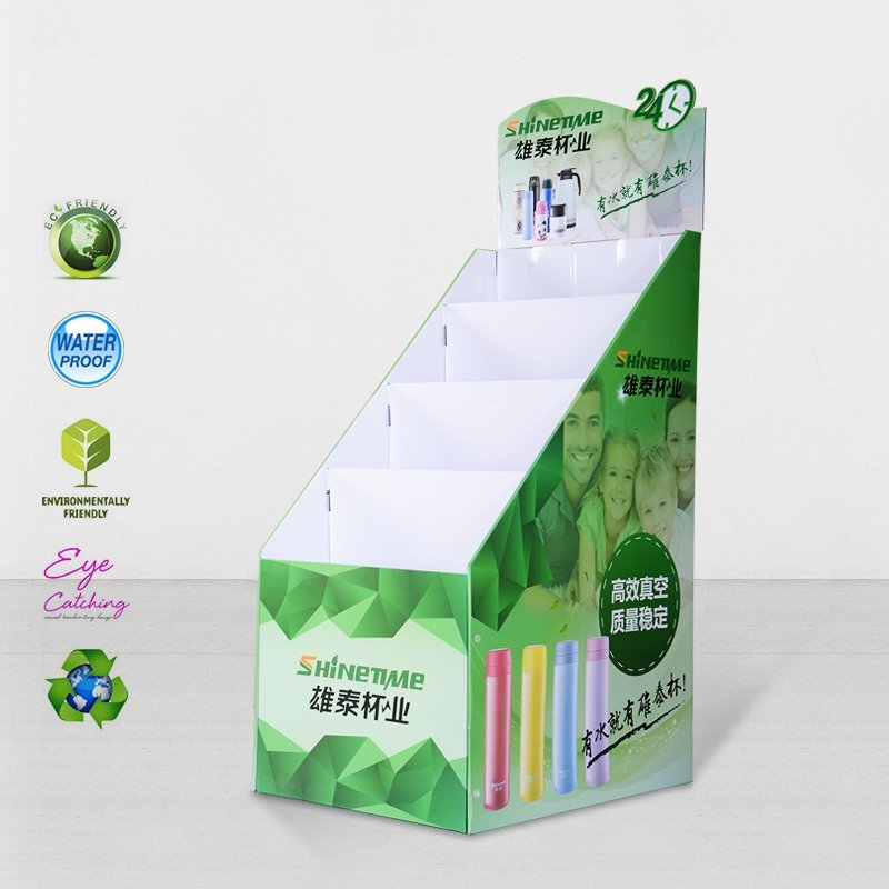 Cardboard Floor Display Stands For Retail Stores Product Sale