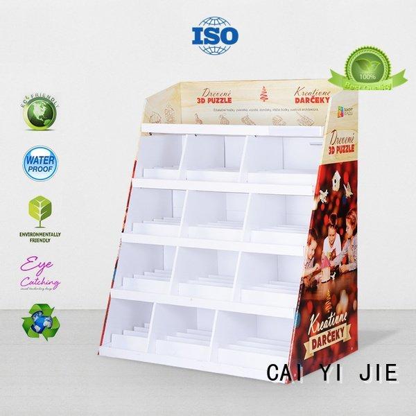 CAI YI JIE Brand printed cardboard greeting card display stand corrugated super