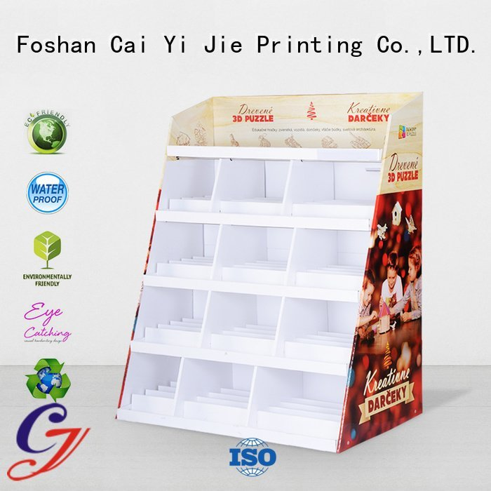 product corrugated stainless cardboard greeting card display stand CAI YI JIE
