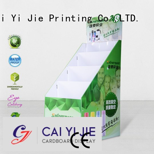 Quality cardboard greeting card display stand CAI YI JIE Brand stairglossy cardboard stand
