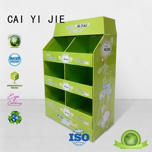 CAI YI JIE Brand cardboard corrugated mobile custom cardboard pallet display